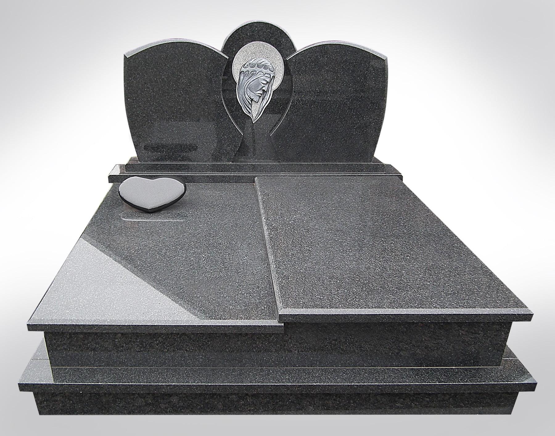 Podwójny nagrobek marmurowy, czarny - Nagrobki podwójne Bielsko-Biała