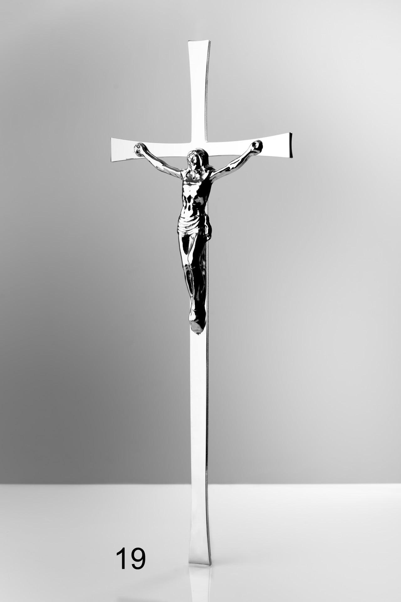 Srebrny krzyż z figurą Jezusa - Nagrobki Bielsko-Biała