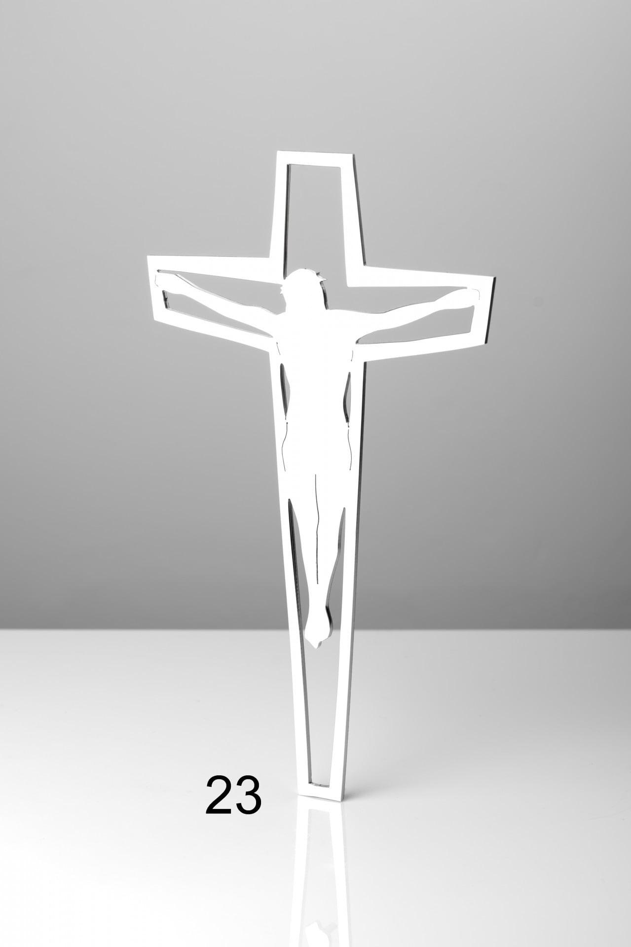 Srebrny krzyż z konturem Jezusa - Nagrobki Bielsko-Biała