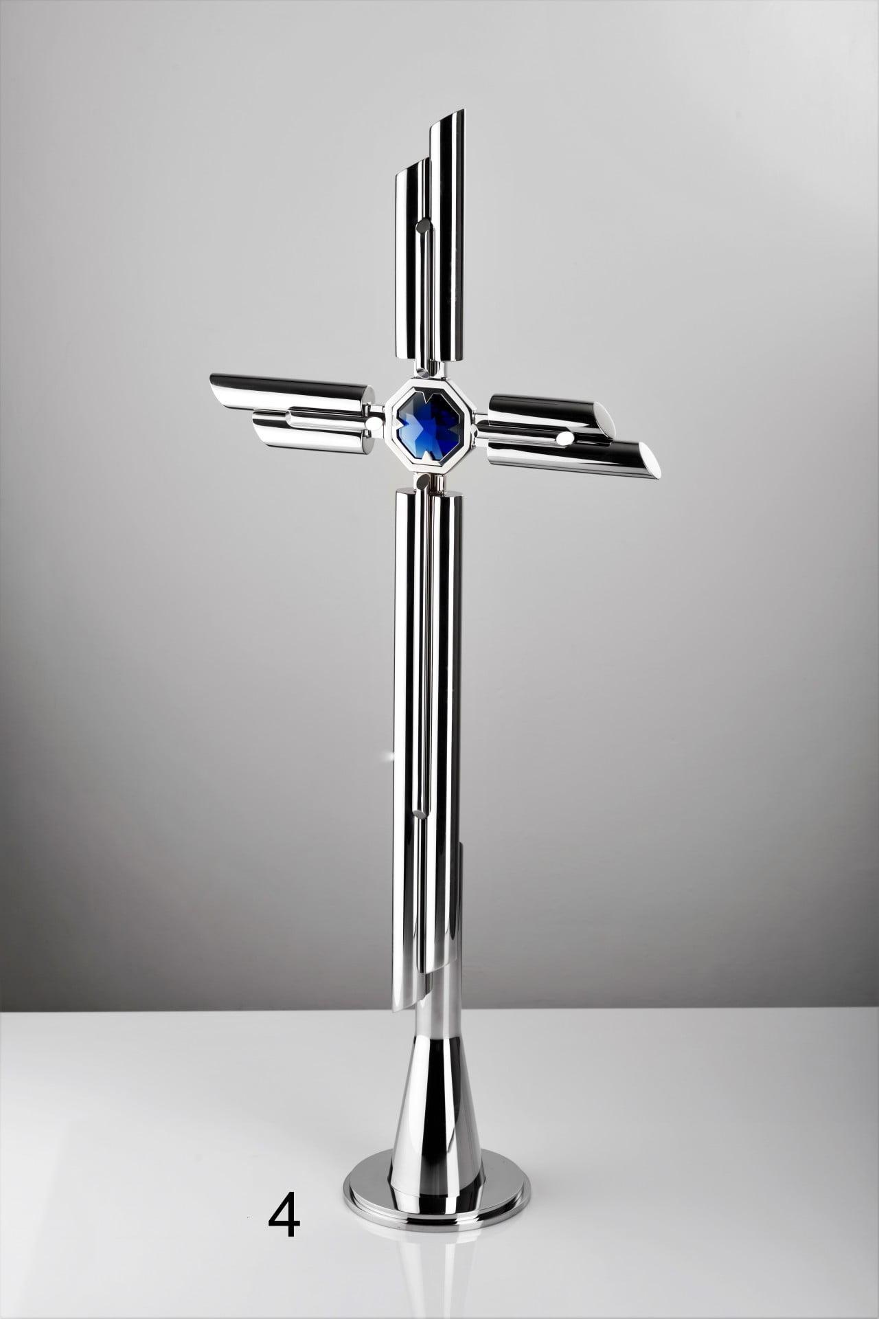 Nowoczesny krzyż z niebieskim detalem - Nagrobki Bielsko-Biała