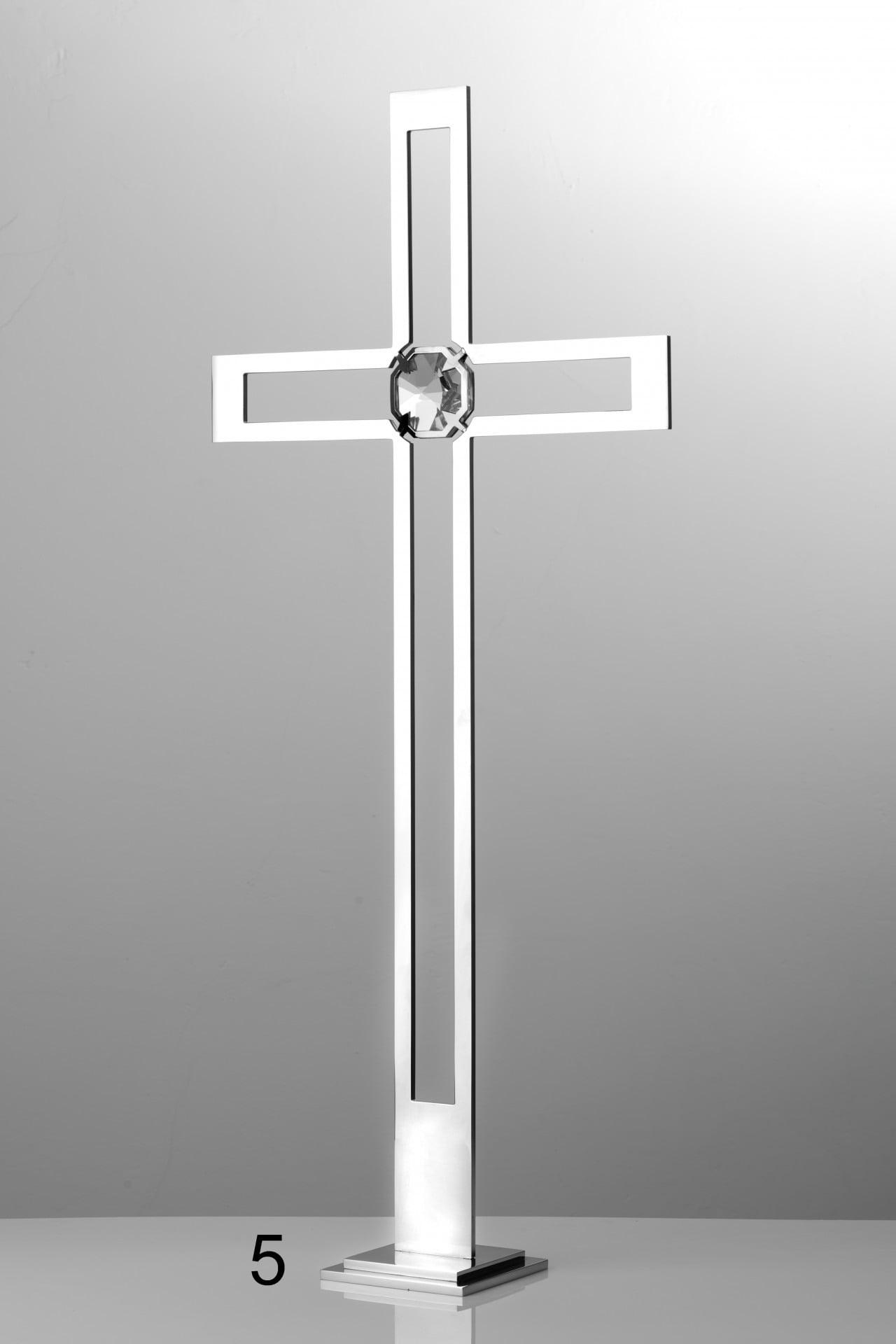 Srebrny krzyż z białym kryształem - Nagrobki Bielsko-Biała