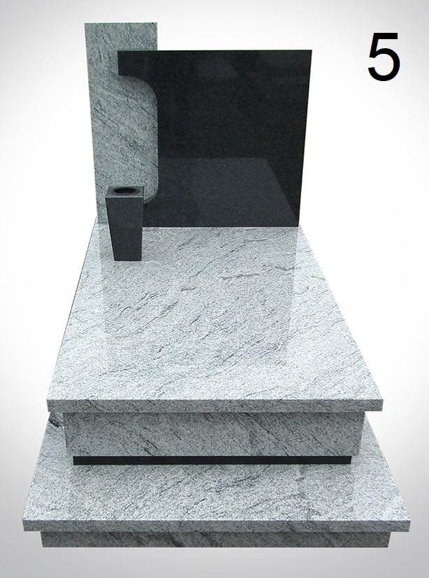 Jasnoszary pomnik z donicą - Nagrobki Bielsko-Biała