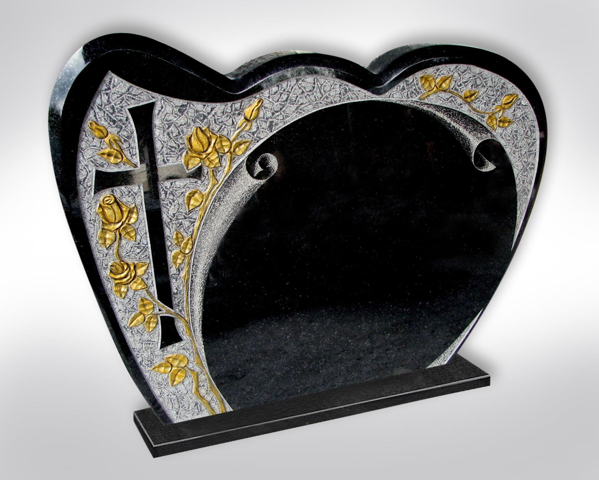 Płyta nagrobkowa w kształcie serca ze złotymi różami - Nagrobki Bielsko-Biała