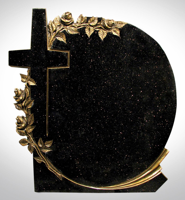 Czarny okrągły nagrobek ze złotymi różami i krzyżem - Nagrobki Bielsko-Biała
