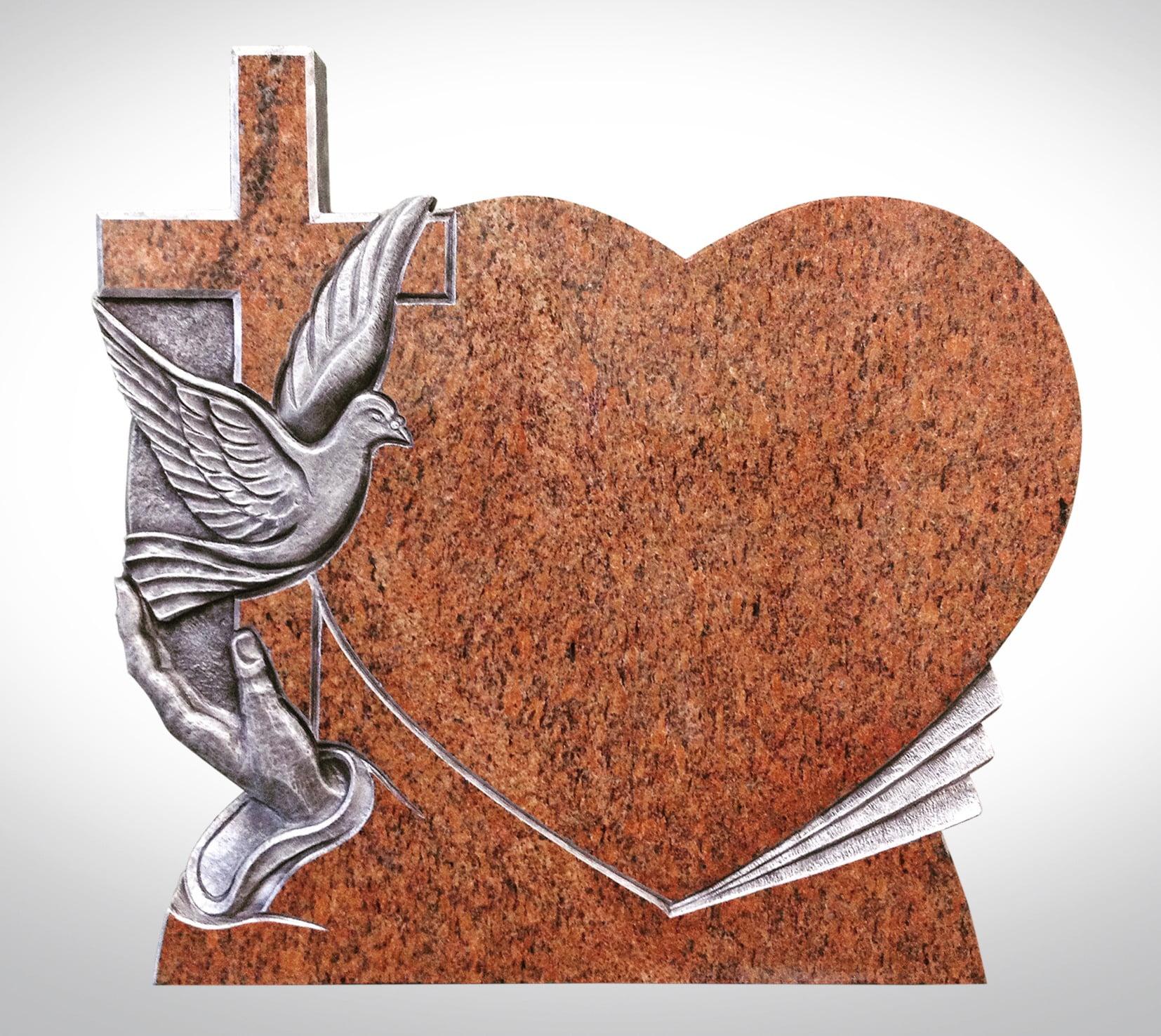 Marmurowy nagrobek z krzyżem i gołębiem - Nagrobki Bielsko-Biała