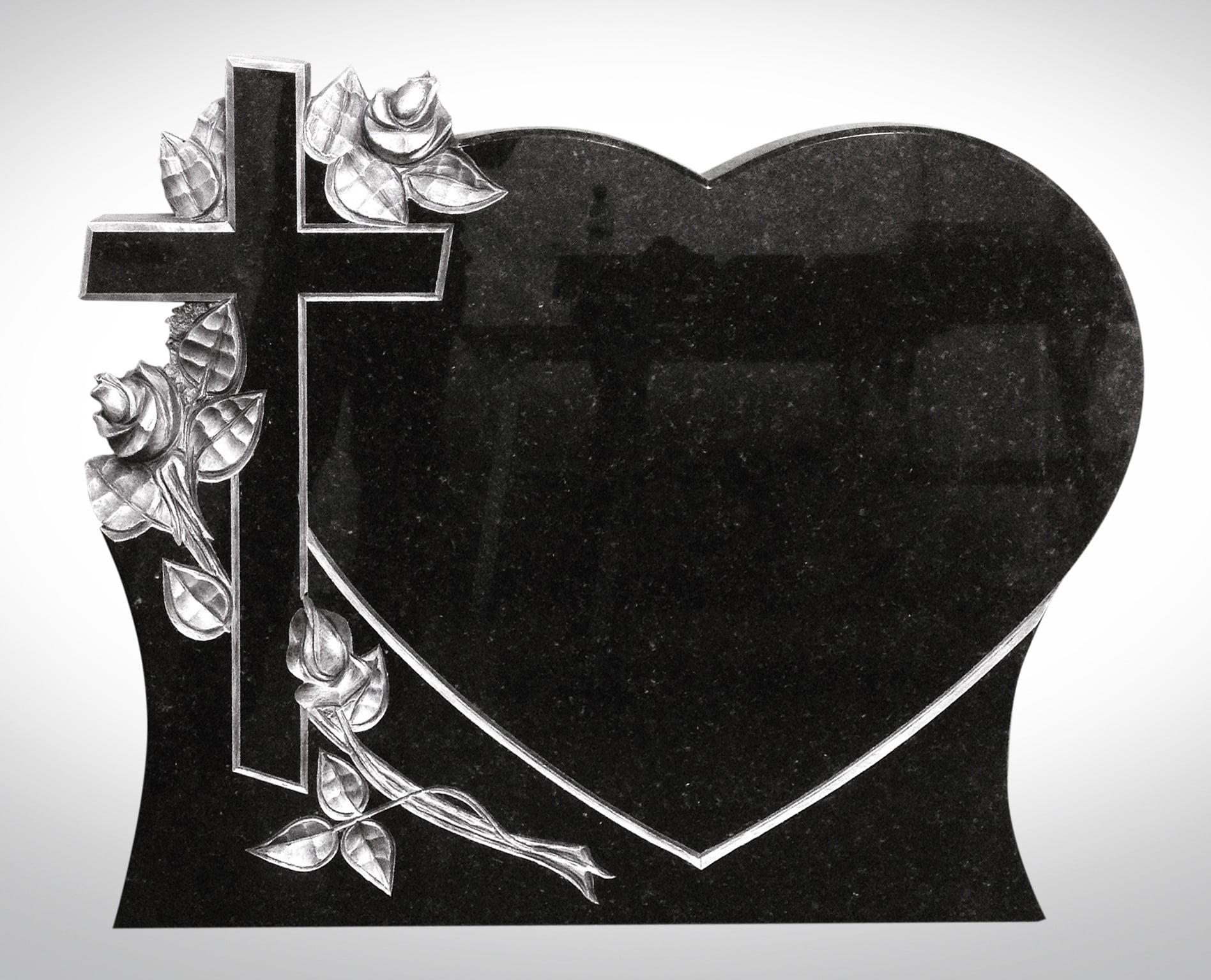 Nagrobek w kształcie serca z krzyżem - Nagrobki Bielsko-Biała