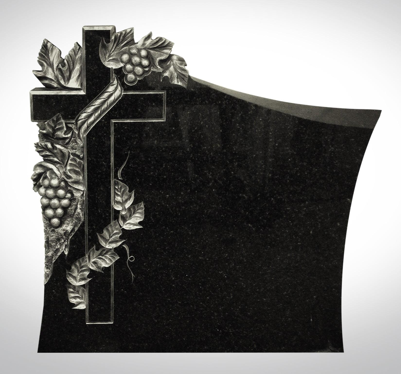 Rzeźba - czarny krzyż z winogronami - Nagrobki Bielsko-Biała
