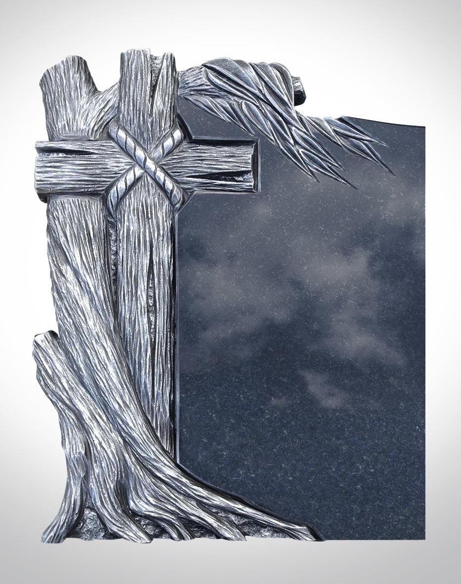 Rzeźba srebrnego krzyża z drzewem - Nagrobki Bielsko-Biała