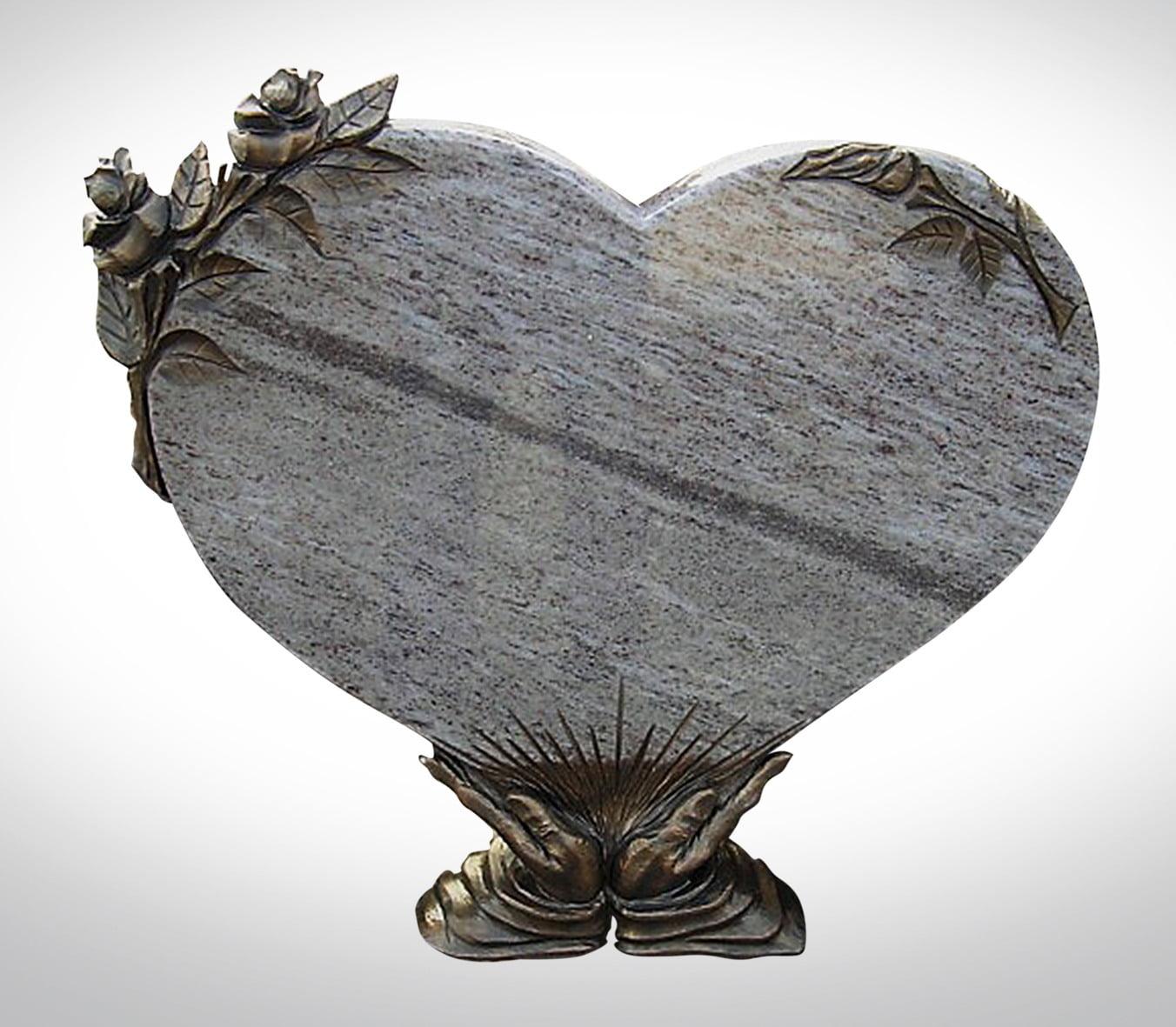 Nagrobek w kształcie serca z różą i rękoma - Nagrobki Bielsko-Biała