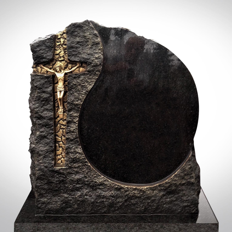 Złoty krzyż z Jezusem - Nagrobki Bielsko-Biała