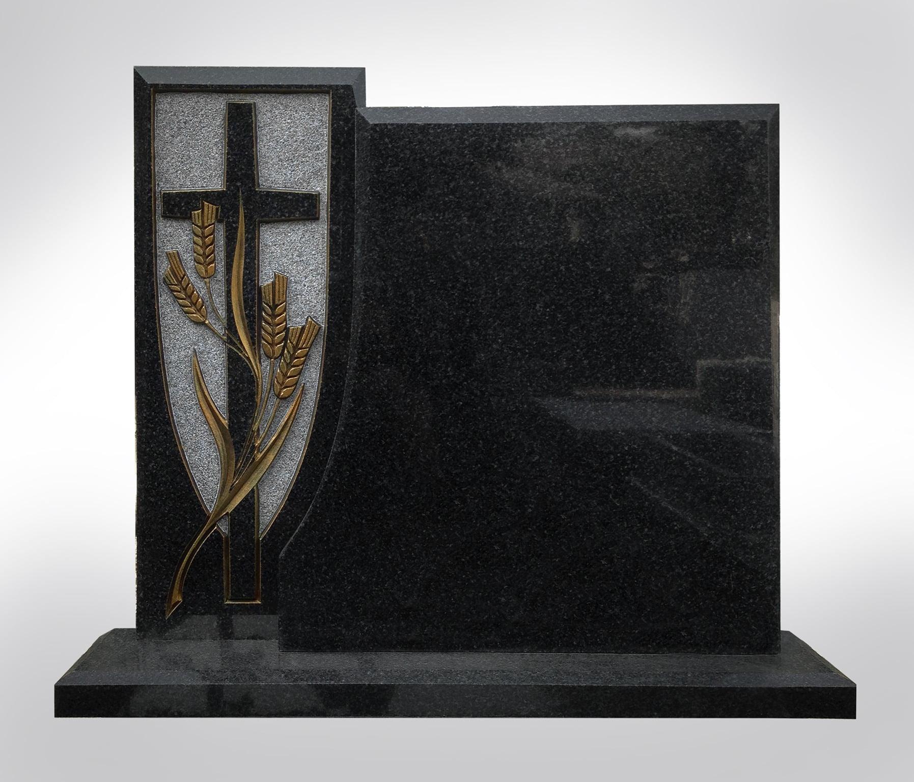 Czarny nagrobek z pięknym krzyżem - Nagrobki Bielsko-Biała