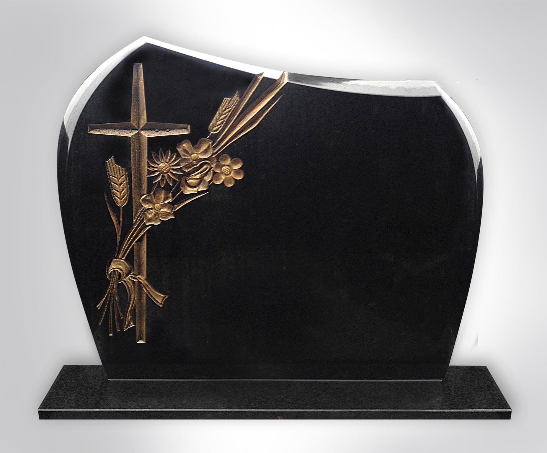 Złoty krzyż z kwiatami - Nagrobki Bielsko-Biała