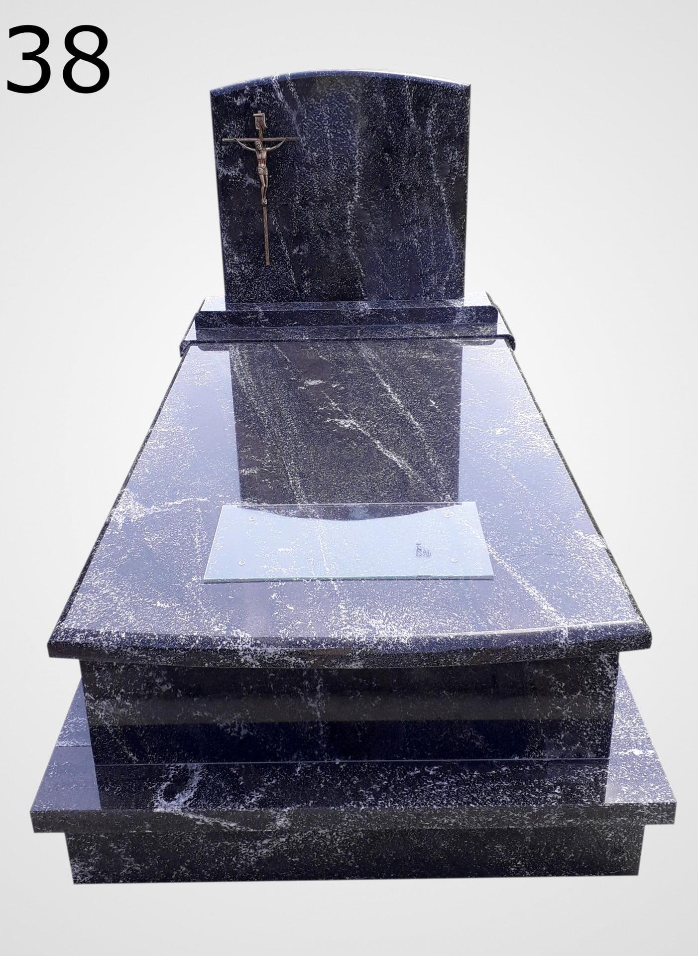 Czarny nagrobek z krzyżem - Nagrobki Bielsko-Biała