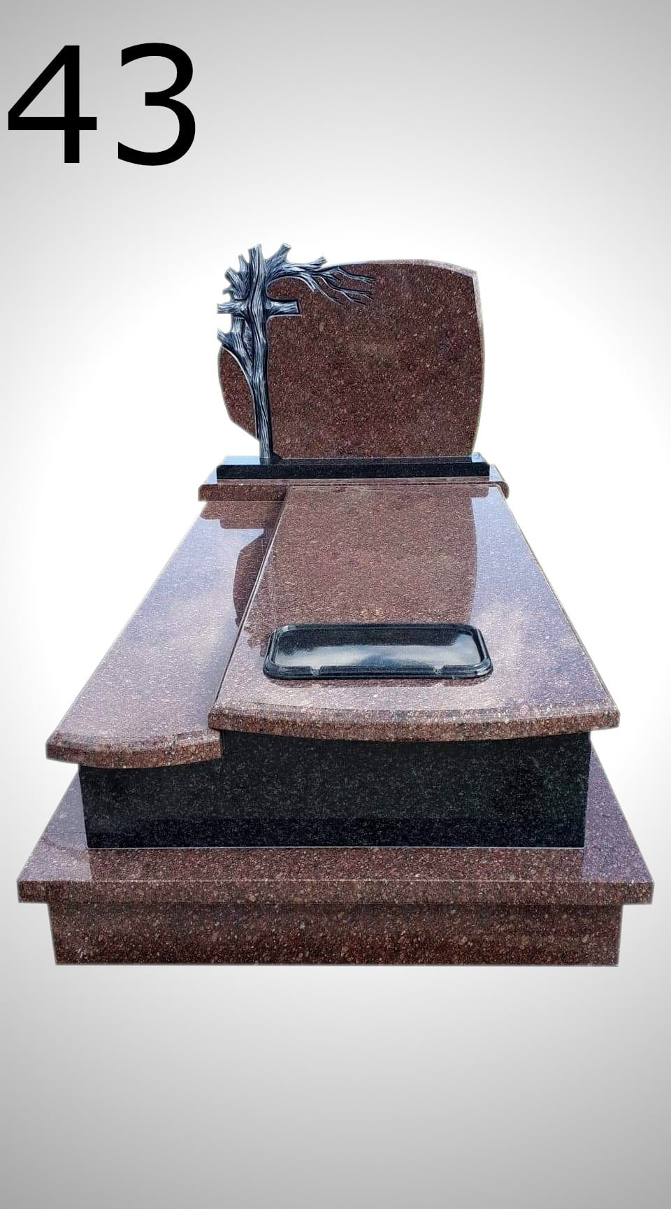Nagrobek z krzyżem i drzewem - Nagrobki Bielsko-Biała